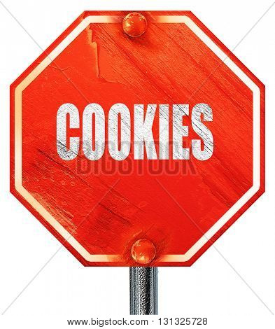 Delicious cookies sign, 3D rendering, a red stop sign
