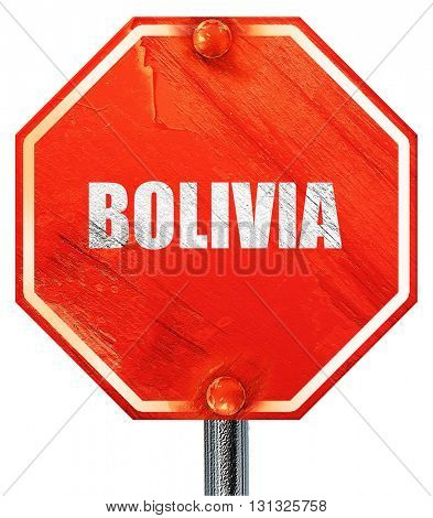 Greetings from bolivia, 3D rendering, a red stop sign