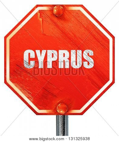 Greetings from cyprus, 3D rendering, a red stop sign