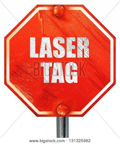 laser tag sign background, 3D rendering, a red stop sign