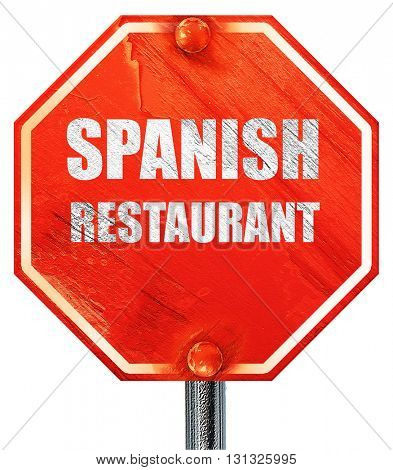 Delicious spanish cuisine, 3D rendering, a red stop sign
