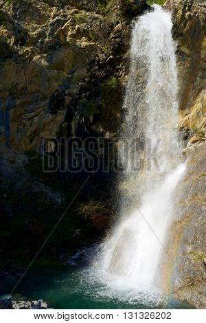 Waterfall in the Pyrenees, Aragues Valley, Aragon, Huesca, Spain.