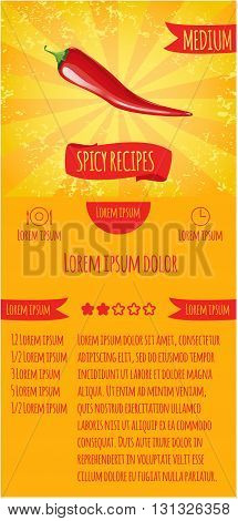 Three leaflets design recipes spicy dishes. Degree of severity: spicy.
