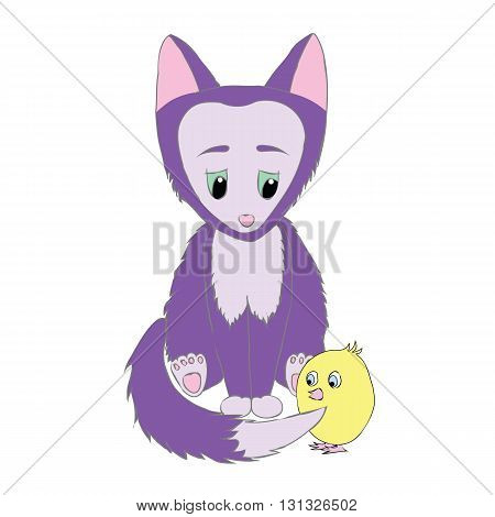 Little cute animal fox and chicken. Cartoon, shy, sad animal foxand chicken. Animal fox with big ears. Purple Fox and a yellow chick.