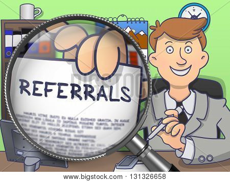 Referrals through Magnifier. Young Business Man Welcomes in Office and Holds Out Paper with Concept. Multicolor Doodle Style Illustration.