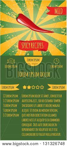 Three leaflets design recipes spicy dishes. Degree of severity: mild.