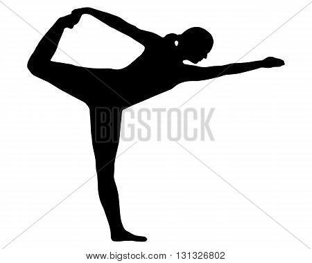 Detailed and accurate illustration of silhouette of woman doing yoga
