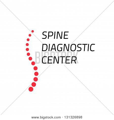 Spinal diagnostic center logo isolated on white, spinal surgery clinic symbol, red spine cord with black text logotype, creative emblem, sign,