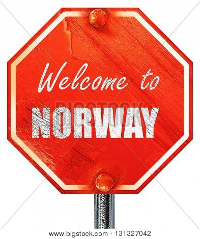 Welcome to norway, 3D rendering, a red stop sign
