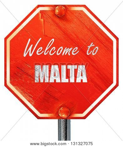 Welcome to malta, 3D rendering, a red stop sign