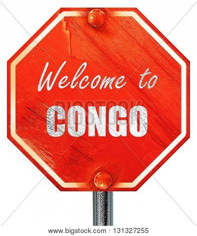 Welcome to congo, 3D rendering, a red stop sign
