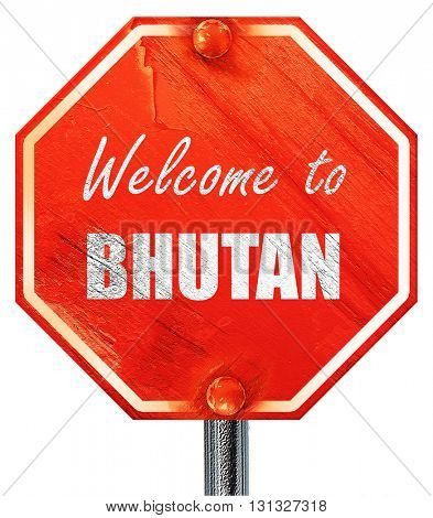 Welcome to bhutan, 3D rendering, a red stop sign