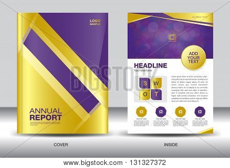 Gold Purple Annual report template gold cover design brochure flyer infographics elements Layout template design