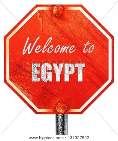 Welcome to egypt, 3D rendering, a red stop sign