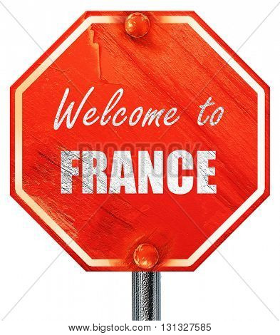 Welcome to france, 3D rendering, a red stop sign