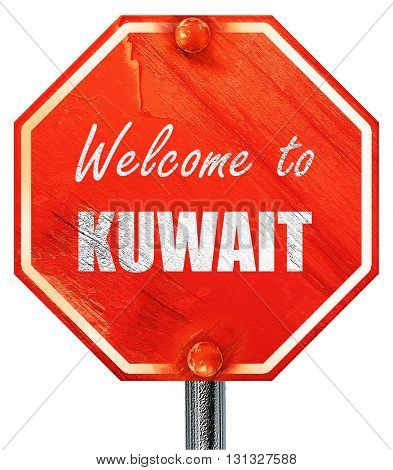 Welcome to kuwait, 3D rendering, a red stop sign