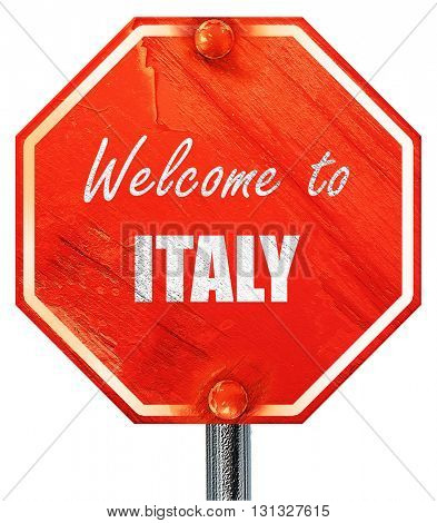 Welcome to italy, 3D rendering, a red stop sign