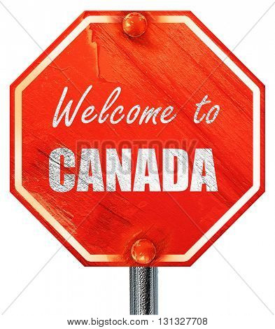 Welcome to canada, 3D rendering, a red stop sign