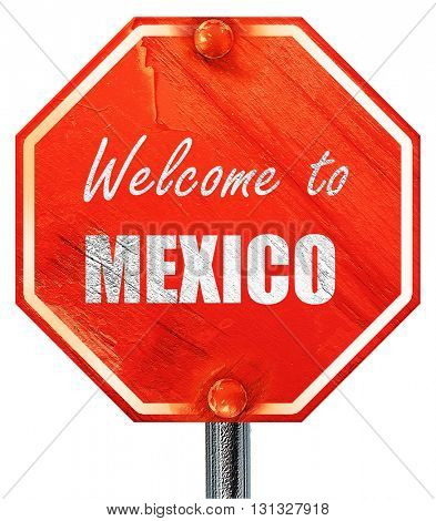 Welcome to mexico, 3D rendering, a red stop sign