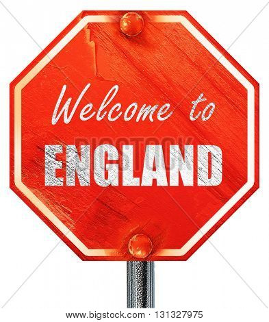 Welcome to england, 3D rendering, a red stop sign