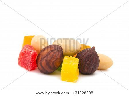color candied fruit isolated on white background