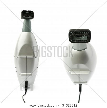 Set of Gray Hand held small vacuum cleaner isolated over the white background
