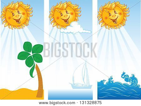 three vertical summer banners with smiling sun