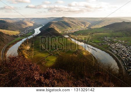 Panoramic view over the Moselle loop near Bremm, Germany