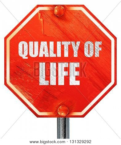 quality of life, 3D rendering, a red stop sign