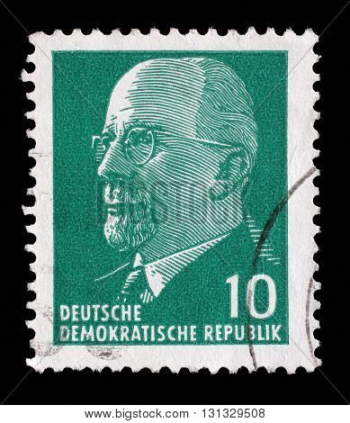 ZAGREB, CROATIA - SEPTEMBER 05: post stamp printed in German Democratic Republic - East Germany shows Chairman Walter Ulbricht, circa 1961, on September 05, 2014, Zagreb, Croatia