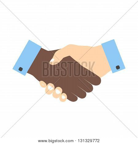 Handshake icon colored without strokes. Hand gesture used as a greeting. In business used for the deal or agreement to become binding. Friendship between races. Hands with different skin colors.