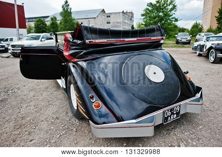 Podol, Ukraine - May 19, 2016: Rear View Of Maybach Zeppelin Ds 8 Roadster, Luxury Classic Car, Buil