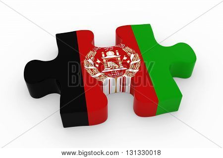 Afghan Flag Puzzle Piece - Flag Of Afghanistan Jigsaw Piece 3D Illustration