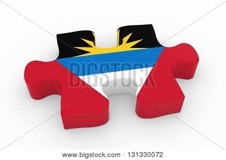 Antiguan And Barbudan Flag Puzzle Piece - Flag Of Antigua And Barbuda Jigsaw Piece 3D Illustration