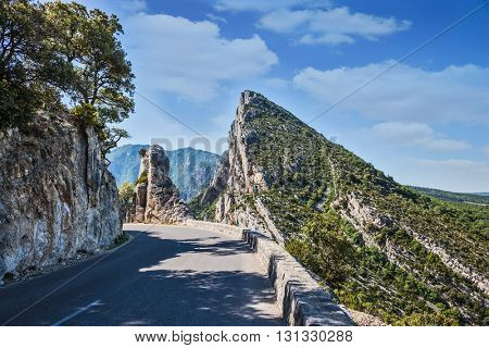 The picturesque and dangerous hairpin bend on a mountain road. The largest alpine canyon Verdon, Provence, France