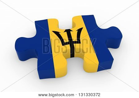 Barbadian Flag Puzzle Piece - Flag Of Barbados Jigsaw Piece 3D Illustration