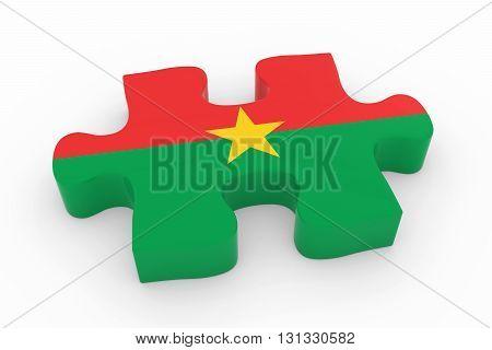 Burkinabe Flag Puzzle Piece - Flag Of Burkina Faso Jigsaw Piece 3D Illustration