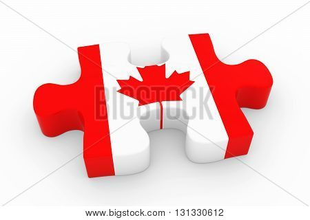 Canadian Flag Puzzle Piece - Flag Of Canada Jigsaw Piece 3D Illustration