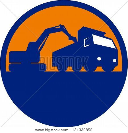 Illustration of a mechanical digger excavator earthmover loading a dump truck viewed from low angle set inside circle done in retro style