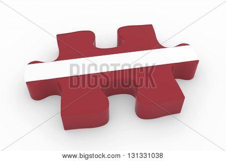 Latvian Flag Puzzle Piece - Flag Of Latvia Jigsaw Piece 3D Illustration