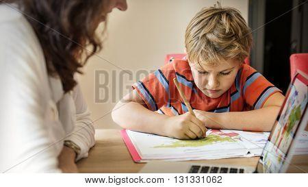 Mother Son Care Communication Laptop Concept