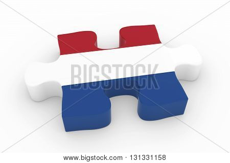 Dutch Flag Puzzle Piece - Flag Of The Netherlands Jigsaw Piece 3D Illustration