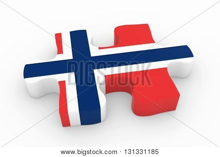 Norwegian Flag Puzzle Piece - Flag Of Norway Jigsaw Piece 3D Illustration