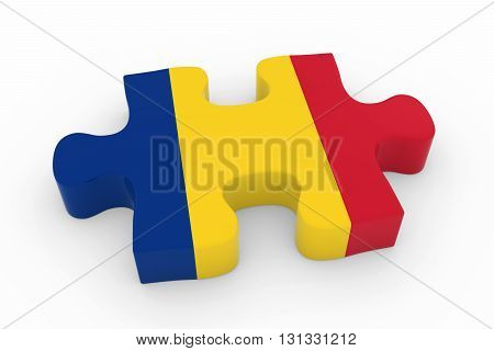 Romanian Flag Puzzle Piece - Flag Of Romania Jigsaw Piece 3D Illustration