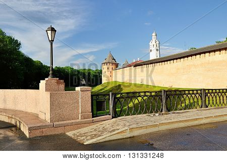 The Metropolitan Tower and Clock Tower of Novgorod Kremlin Veliky Novgorod Russia - architectural landscape