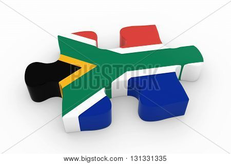 South African Flag Puzzle Piece - Flag Of South Africa Jigsaw Piece 3D Illustration