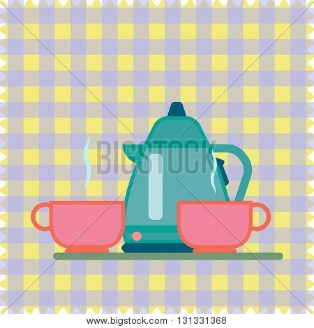 Teapot and cup on a napkin. To drink tea. To drink coffee. A set of dishes for two.