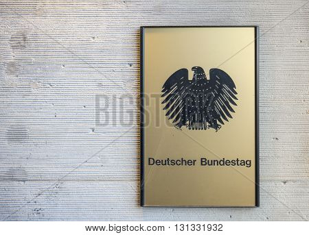 Government Of Germany. Deutscher Bundestag. The Plate With Inscription On The Wall