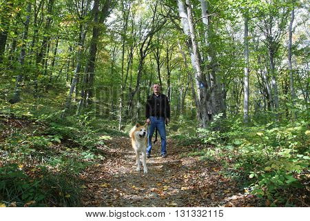 Man and his Akita Inu dog enjoying in the forest