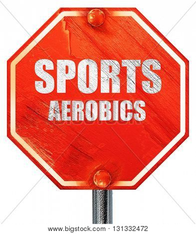 sports aerobics sign background, 3D rendering, a red stop sign
